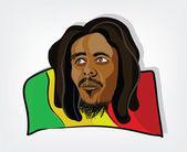 Rasta man Illustration of a rastafarian man on a jamaican flag Clip-art Illustration