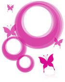 Růžové rámů a motýl