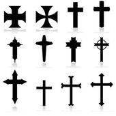 Icon set showing crosses in different patterns and designs