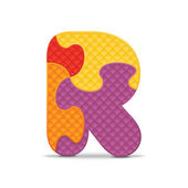 Letter R written with alphabet puzzle - vector illustration