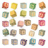 Alphabet written with blocks - vector illustration