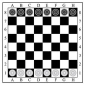 Classic checkers board and checkers vector illustration