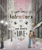 Valentines Day greeting card - snowy romantic street