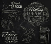 Collection on tobacco and smoking a pack of cigarettes vintage tobacco leaves hands with a cigarette stylized drawing with chalk on a blackboard