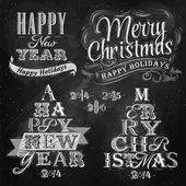 Merry Christmas and New Year lettering collection of Christmas tree from letters