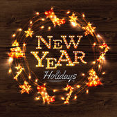 New year wreath garland poster with lettering New year holidays in a retro style with decorations in garlands gloving on wood background