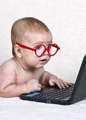 Vicces gyerek a szemüveget egy netbook