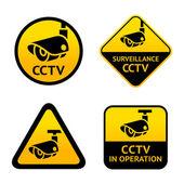 Video surveillance set signs Vector illustration
