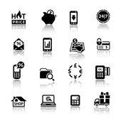 Shopping Icons Set symbols black with reflection Vector web design elements