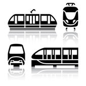 Set of transport icons - Monorail and Tram vector illustration