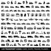 120 Transport icons: Cars Ships Trains Planes vector illustrations set silhouettes isolated on white background