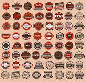 Carreras de insignias - estilo vintage, gran set