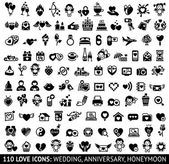 Set of 110 love flat icons: wedding anniversary honeymoon Vector illustrations silhouettes isolated on white background