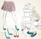Young woman shopping for fashion shoes Hand draw illustration