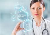 Arzt arbeiten mit Gesundheitswesen Symbole