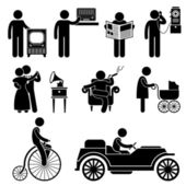 A set of pictogram representing man using various type of retro objects and machine