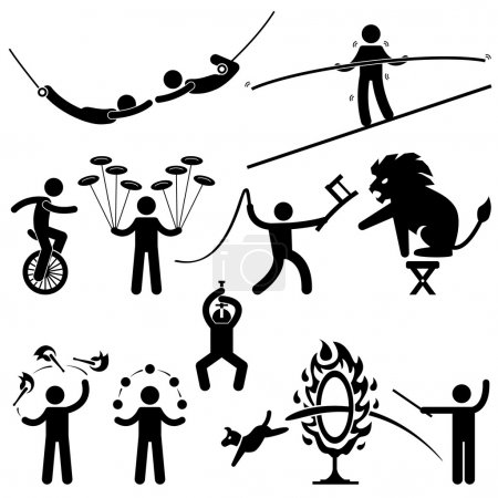 Постер, плакат: Circus Performers Acrobat Stunt Animal Man Stick Figure Pictogram Icon, холст на подрамнике