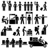 Pracovníci letiště a bezpečnostní piktogramy