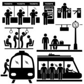 A set of pictograms representing in the train station and at the subway