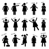 A set of stick figure pictograms representing woman basic posture and gesture