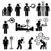 A set of human pictograms representing common disease for human such as Alzheimer diabetes high cholesterol hiv brain tumor paralysis high blood pressure cancer heart attack parkinson and anxiety
