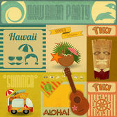 Hawaii Vintage Card Set of stickers for Hawaiian Party in Retro Style Vector Illustration