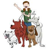 Mann zu Fuß Hunde