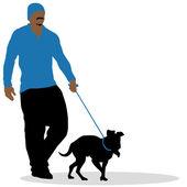 An image of a man walking his dog