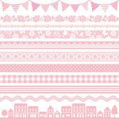 Set of pink decoration frag border stripe waves
