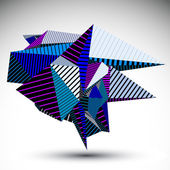 Cybernetic contrast element constructed from geometric figures with parallel lines Purple misshapen striped sharp object for technology projects and graphic design