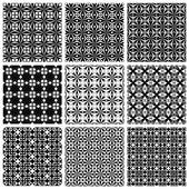 Seamless geometric patterns set black and white vector backgrounds collection