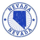 Grunge rubber stamp with the name and map of Nevada  vector illustration