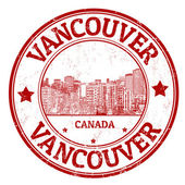 Red grunge rubber stamp with the name of Vancouver a city of Canada vector illustration