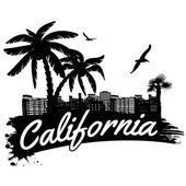 California in vitage style poster vector illustration
