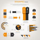 Retro Infografiken Satz. Welt-Karte und Informationen-Grafiken. vect