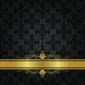 Seamless small black elements and gold ribbon with scrolls Can be used as a menu cover or invitation card This image is a vector illustration