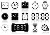 Clocks icon set Vector illustration of different clock web icons