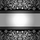 Vintage black background, floral antique card, victorian silver