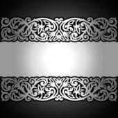 Vintage černé pozadí, starožitný, viktoriánské stříbrná ozdoba, barokní rámec