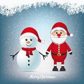 Santa a sněhulák zimní zasněžené krajiny