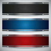 Banners metallic set modern backgrounds design vector