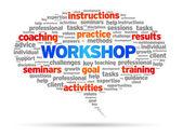 Workshop speech bubble illustration on white background