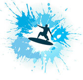 Silhouette of a surfer on a grunge splash background