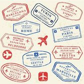 Colorful fictitious visa stamps set International business travel concept Frequent flyer visas