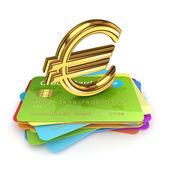 Zlaté euro na barevné kreditní karty