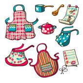 Vector set - kitchen aprons pans and recipes