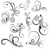 Creative Conceptual Decorative Design Art of Vector Swirls Foliage Elements