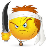 Smiley-Vektor-Illustration - Kung-Fu-Krieger-Gesicht