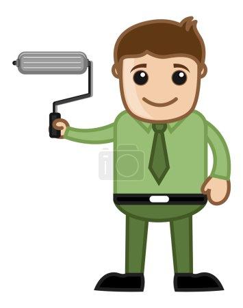 Постер, плакат: Man Holding a Paint Roller Renew Concept Business Cartoons Vectors, холст на подрамнике