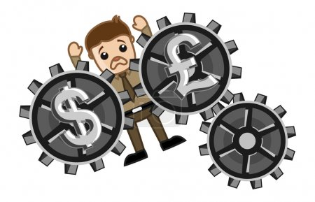 Постер, плакат: Currency Exchange Loss Business Cartoons Vectors, холст на подрамнике